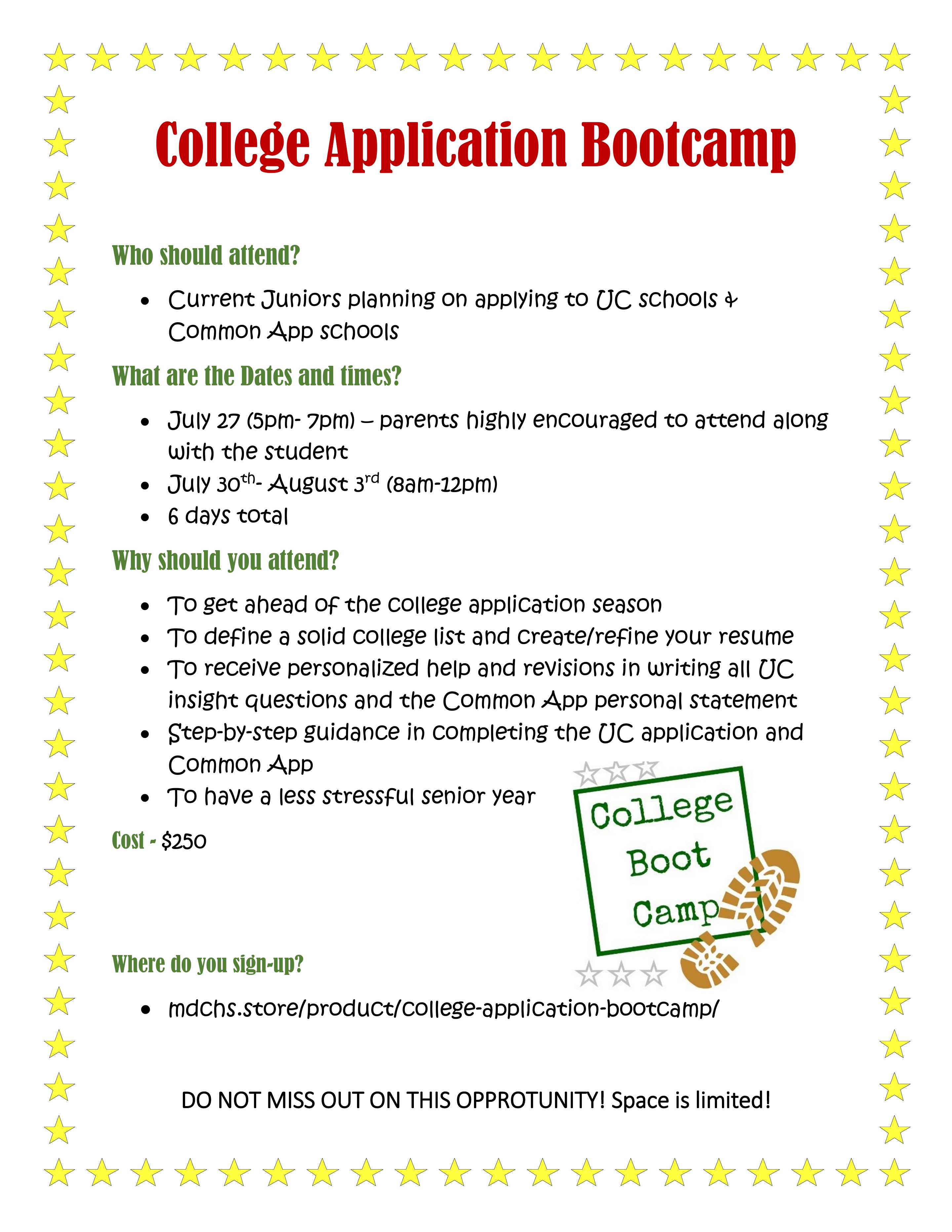 College Application Boot Camp – College Application Bootcamp – Mater ...
