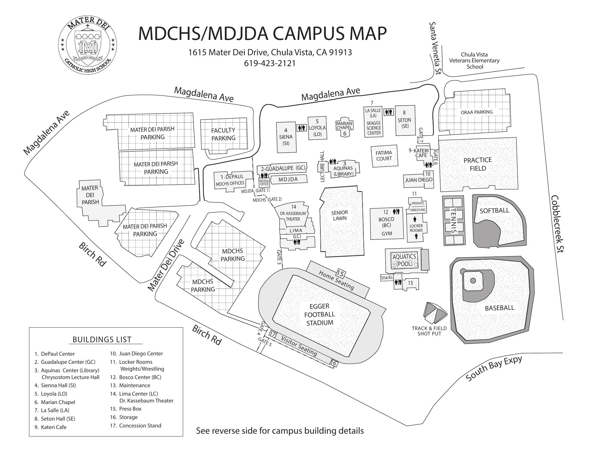 Location Mater Dei Catholic High School Juan Diego Adult Center